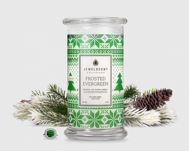 Frosted Evergreen Candle