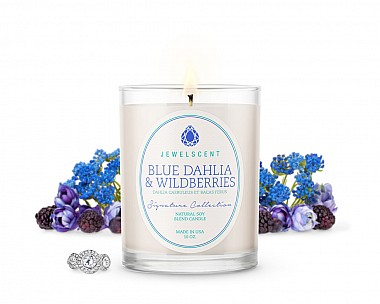 Signature Blue Dahlia And Wildberries Jewelry Candle