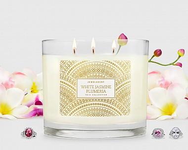 Trio White Jasmine Plumeria Candle