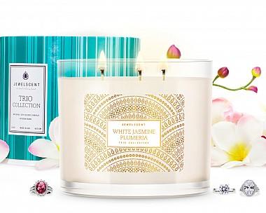 Trio White Jasmine Plumeria Jewelry Candle