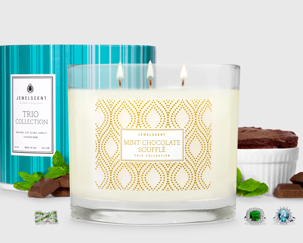 Trio Mint Chocolate Souffle Candle