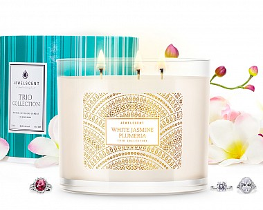 Trio White Jasmine Plumeria Jewelry Candle
