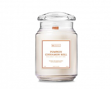 Essentials Pumpkin Cinnamon Roll Large Wood Wick Candle