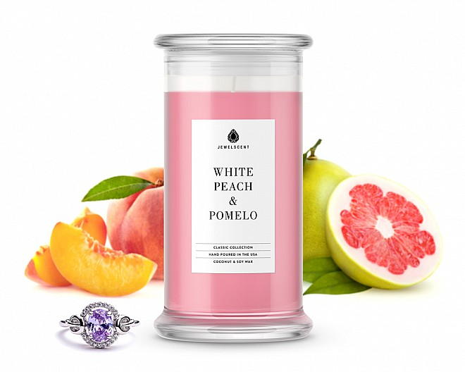 White Peach & Pomelo Classic Jewelry Candle