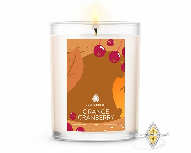 Orange Cranberry Home Jewelry 18oz Ring Candle