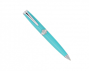 Mini Rhodium Plated Teal Pen Adorned with Jeweled Rose