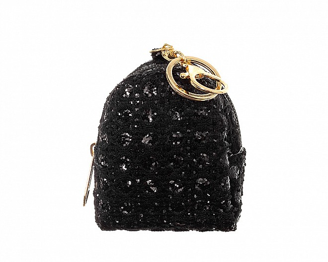 Sparkly Black Glitter Mini Bag Purse Charm