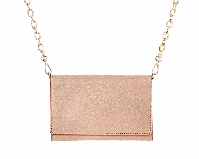 Beige Faux Leather Crossbody Purse Clutch with Removable Gold Chain