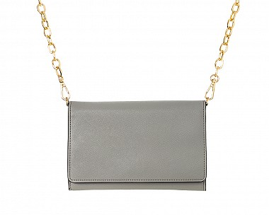 Soft Grey Faux Leather Crossbody Purse Clutch with Removable Gold Chain