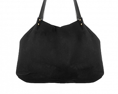 Large Black Faux Suede Carry-All Tote