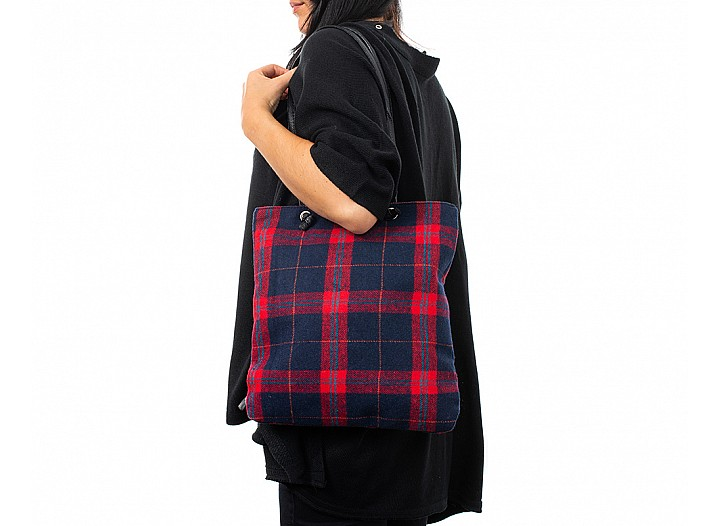 Cozy Red and Blue Plaid Flannel Tote