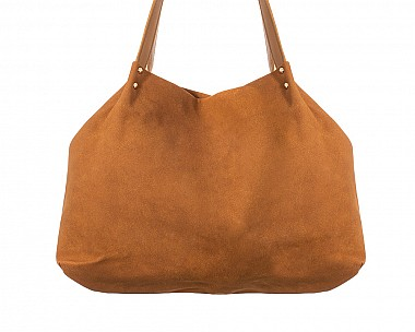 Large Tan Faux Suede Carry-All Tote