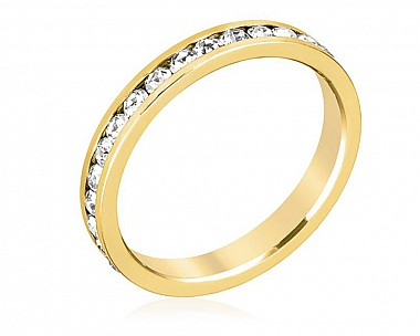 18k Gold Plated Sparkly Clear Crystal Eternity Band