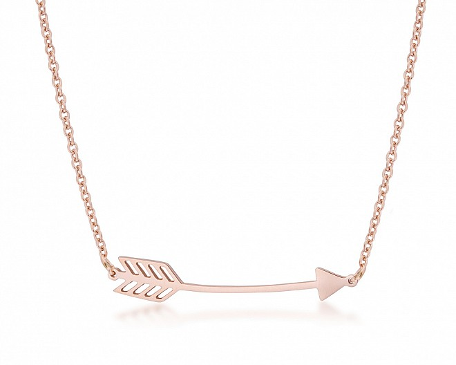 Modern Rose Gold Plated Arrow Necklace
