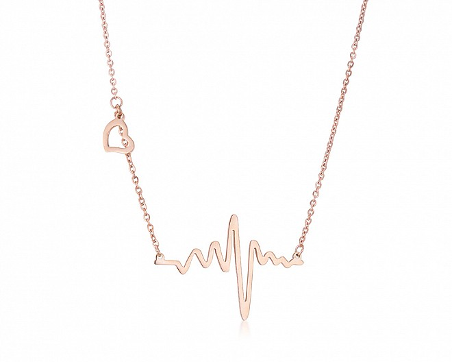 Delicate Rose Gold Plated Heartbeat Necklace