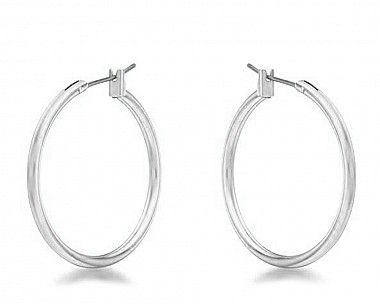 Everyday Silvertone Hoop Earrings