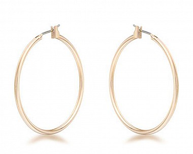 Lucia Gold Tone Medium Hoop Earrings