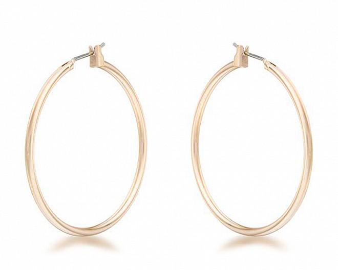 Lucia Gold Tone Medium Hoop Earrings