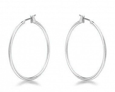 Lucia Silvertone Medium Hoop Earrings