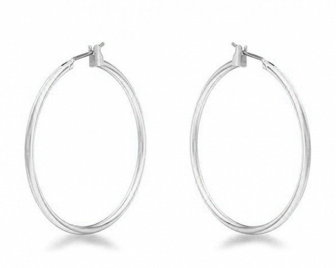Silvertone Polished Large Hoop Earrings