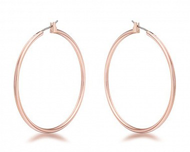 Rose Gold Plated Polished Large Hoop Earrings