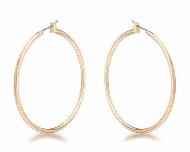 Gold Tone Plated Polished Large Hoop Earrings