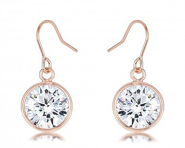 Rose Gold Plated Cubic Zriconia Bezel Solitaire Drop Earrings