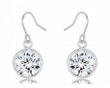 Rhodium Plated Cubic Zriconia Bezel Solitaire Drop Earrings