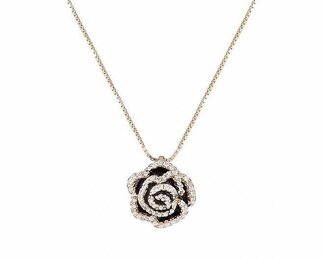 Delicate 18k Gold Plated Black Rose Necklace
