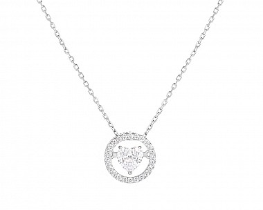 Stunning Sterling Silver Floating Heart Necklace