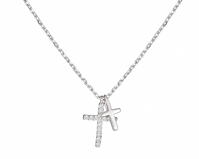 Dainty Sterling Silver Double Cross Necklace