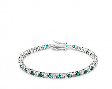 Elegant Rhodium Plated Aquamarine and Clear CZ Tennis Bracelet