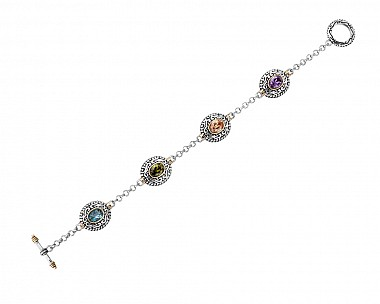 Antique Dark Multicolored CZ Link Bracelet