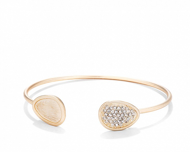 18k Matte Gold Plated Contemporary Pave Wire Cuff