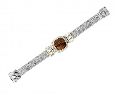 Two Tone Multi Strand Tiger's Eye Bracelet