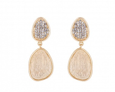 18k Matte Gold Plated Contemporary Pave Drop Earring