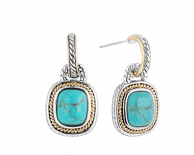 Southwestern Two Tone Faux Turquoise Hooplet Drop Earrings