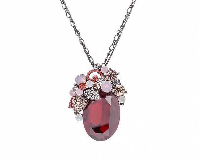 Stunning Garnet Multicolored Crystal Convertible Brooch Pendant