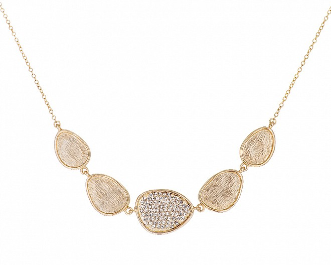 18k Matte Gold Plated Contemporary Pave Necklace