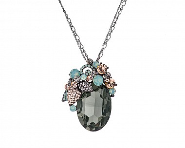 Stunning Olive Multicolored Crystal Convertible Brooch Pendant