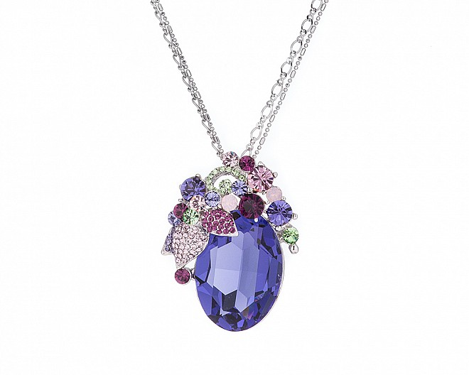 Stunning Purple Multicolored Crystal Convertible Brooch Pendant