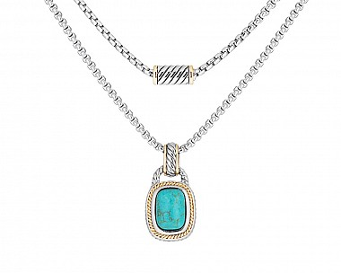 Southwestern Two Tone Faux Turquoise Necklace