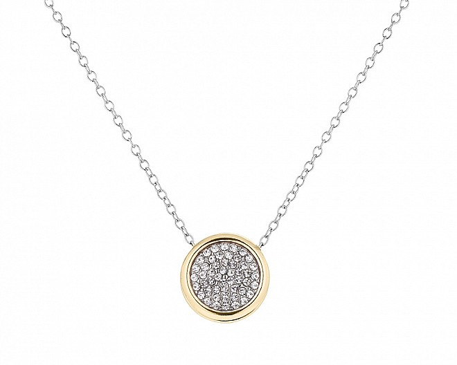 Simple Two Toned Round Pave Cubic Zirconia Pendant