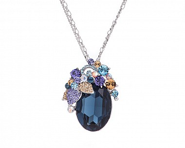 Stunning Teal Multicolored Crystal Convertible Brooch Pendant