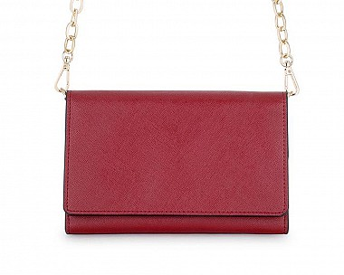 Burgundy Faux Leather Purse Clutch With Gold Chain Crossbody