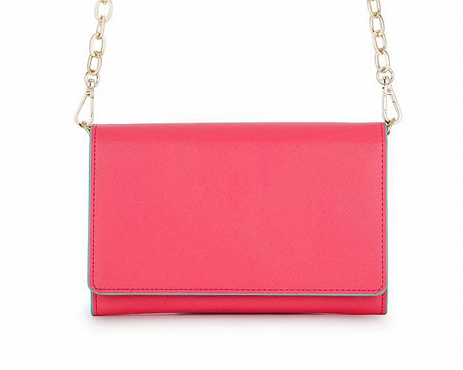 Coral Faux Leather Purse Clutch With Gold Chain Crossbody