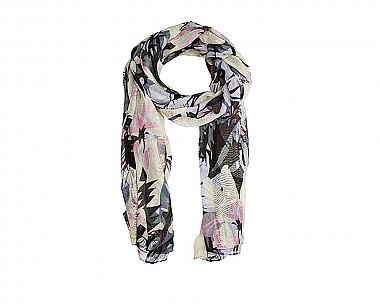 Large Black and Multicolor Floral Print Scarf