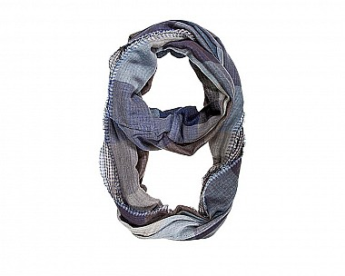 Blue Mixed Plaid Infinity Scarf