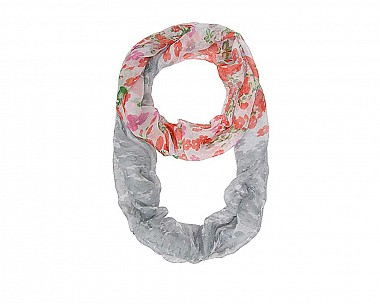 Grey Floral Meadow Print Infinity Scarf