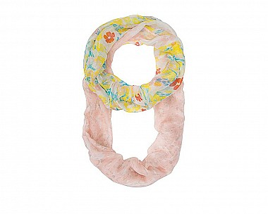 Peach Floral Meadow Print Infinity Scarf